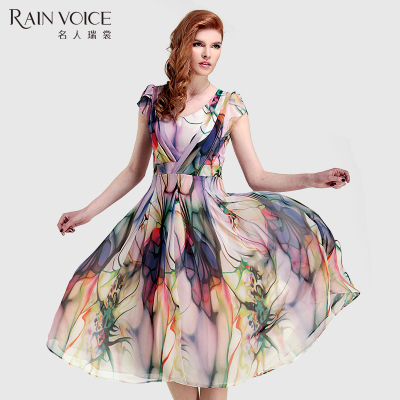 Plus Size Women Runway Dresses Bohemian Summer Long Maxi Dress 2015 Chiffon Big Swing Printing Dress(China (Mainland))
