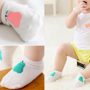 2015 Summer Boy/Girl Baby Nonslip Cotton Socks Comfortable Cotton Socks infant Cute Pink/Green pears Short Socks Free Shipping(China (Mainland))