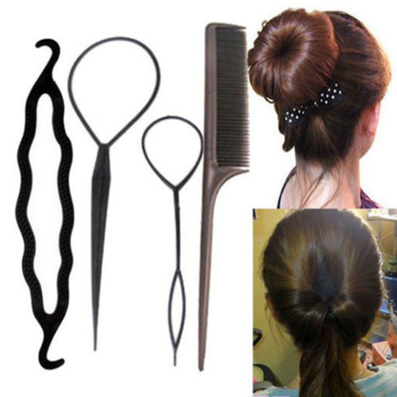 4Pcs Multicolor Hairdressing Stylists Tools For Braids Pull Hair Pins Donut Big Hair Clips Accessories For Women Lady Hair Style(China (Mainland))