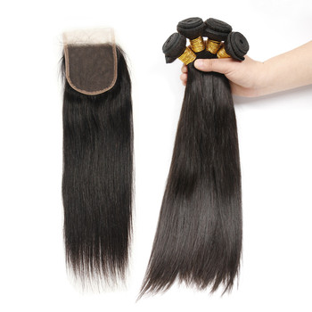 6A peruvian virgin hair with closure 4 bundles with lace closure straight aliexpress hair extensions Peruvian Hair Extension