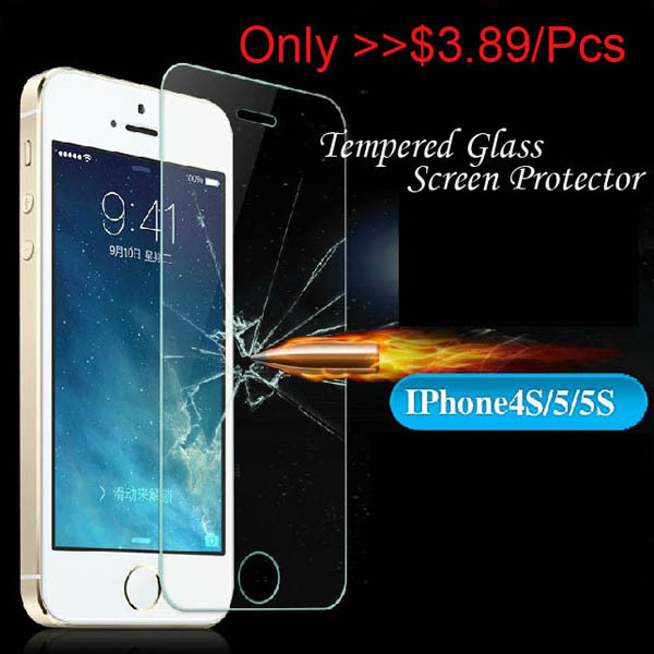 New Arrival!!Tempered Glass Screen Clear Crystal Protector For iPhone 5 5S se 5G High Quality Wholesale Support Front Film(China (Mainland))