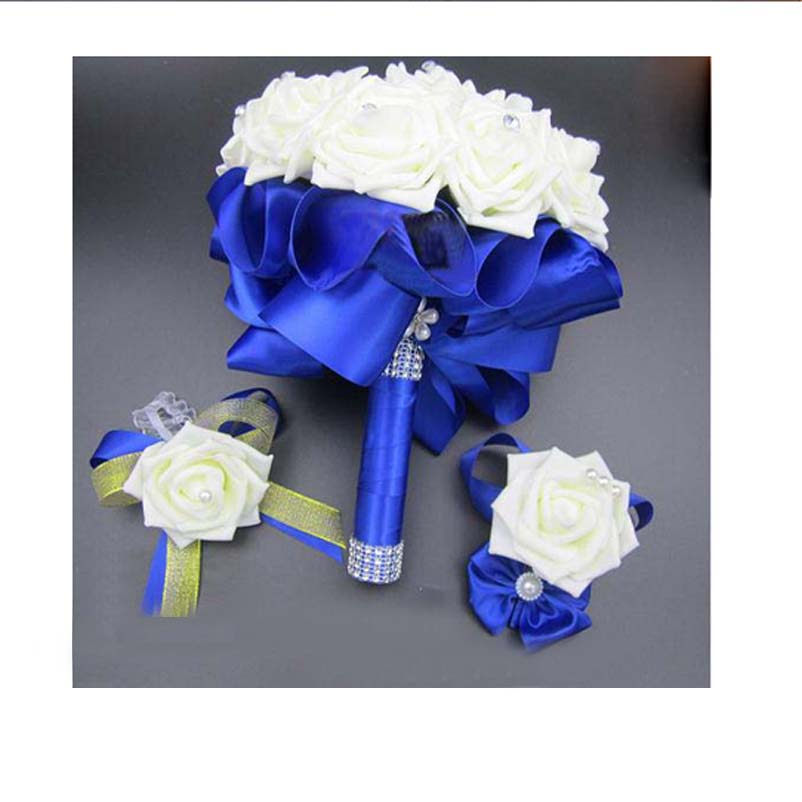 3pc Set Bouquet and Wrist Corsage and Boutonniere Blue buque de noiva White Artifical Rose Wedding Bridal Bridesmaid Flowers(China (Mainland))