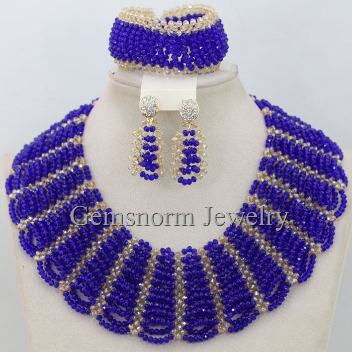 Royal Blue Gold Chunky Bib Statement Necklace Set Nigerian Women Costume Necklace Jewelry Set Bride Gift Free Shipping WB791(China (Mainland))