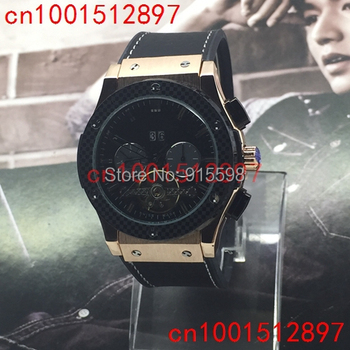 Free shipping! Gold Case High quality luxury tourbillon mechanical movement watches popular style men