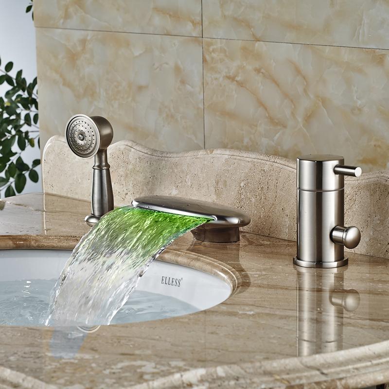 brushed nickel led waterfall bath faucet single handle bathroom
