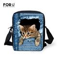 FORUDESIGNS Desinger Women Messenger Bags 3D Animal Printing Shoulder Bag Kawaii Cat Messenger Bags High Crossbosy