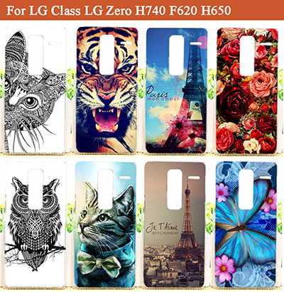 DIY 14 patterns Painting Colored Hard PC Case For LG Class LG Zero H740 F620 H650 phone cover with Tiger lion OWL Flowers Sheer(China (Mainland))