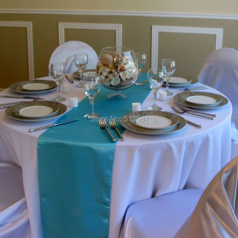 HOT/Free shipping 10PCS Turquoise Satin Table Runners Wedding Party(China (Mainland))