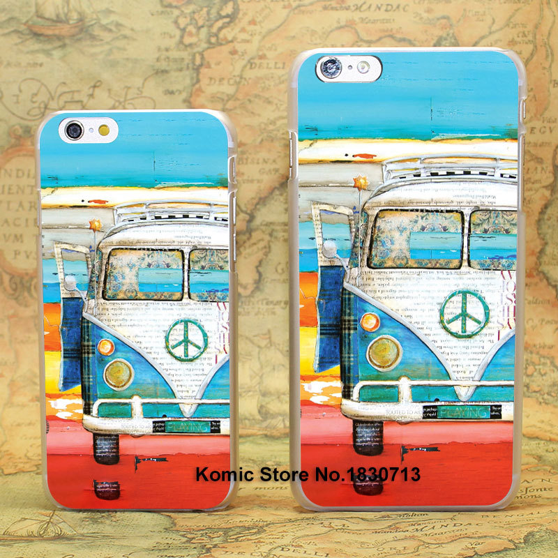 summer volkswagen bus beach art Pattern hard transparent clear Cover Case for iPhone 4 4s 5 5s 5c 6 6 Plus(China (Mainland))