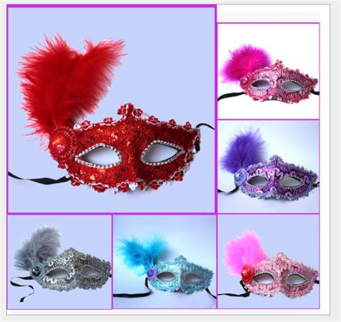 Charm Leather Mardi Gras Masquerade Party Feather Fantasy Masks weddings Ladies(China (Mainland))
