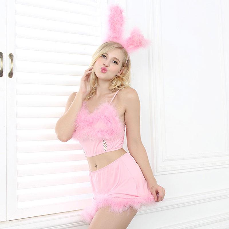 2016 Sexy Bunny Girl Maid Costume Halloween Cosplay Uniform Fancy Bunny Lingerie Dancing Costumes Rabbit Headwear +Tops + Skirt(China (Mainland))
