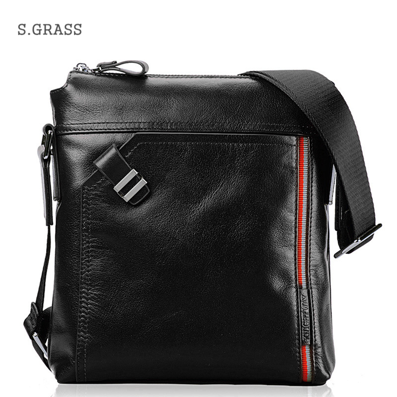 High Quality Genuine Leather Bags Men Small Cowhide Crossbody Bag Brand Business Men's Leather Messenger Bag by 2 Size(China (Mainland))