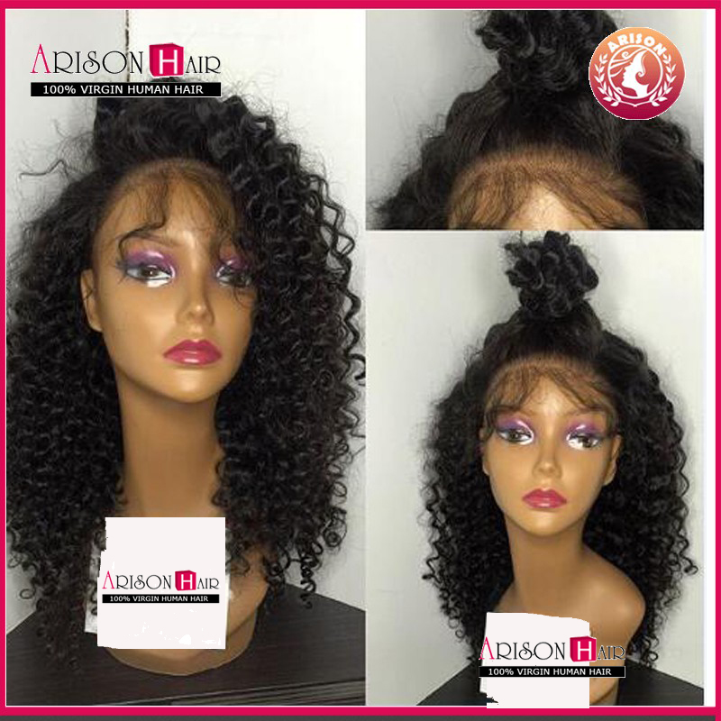 Deep Curl Full Lace wig Remy Indian hair glueless full lace human hair wigs with baby hair virgin lace front wig for black women(China (Mainland))
