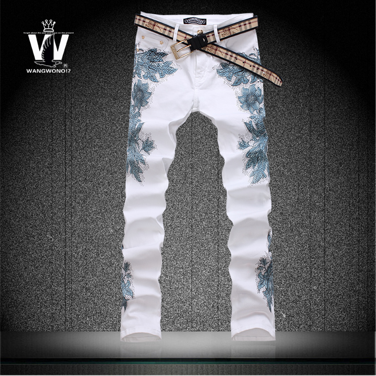 Фотография Summer style colored drawing flower print pants elastic slim personalized trousers mens skinny jeans famous brand british style