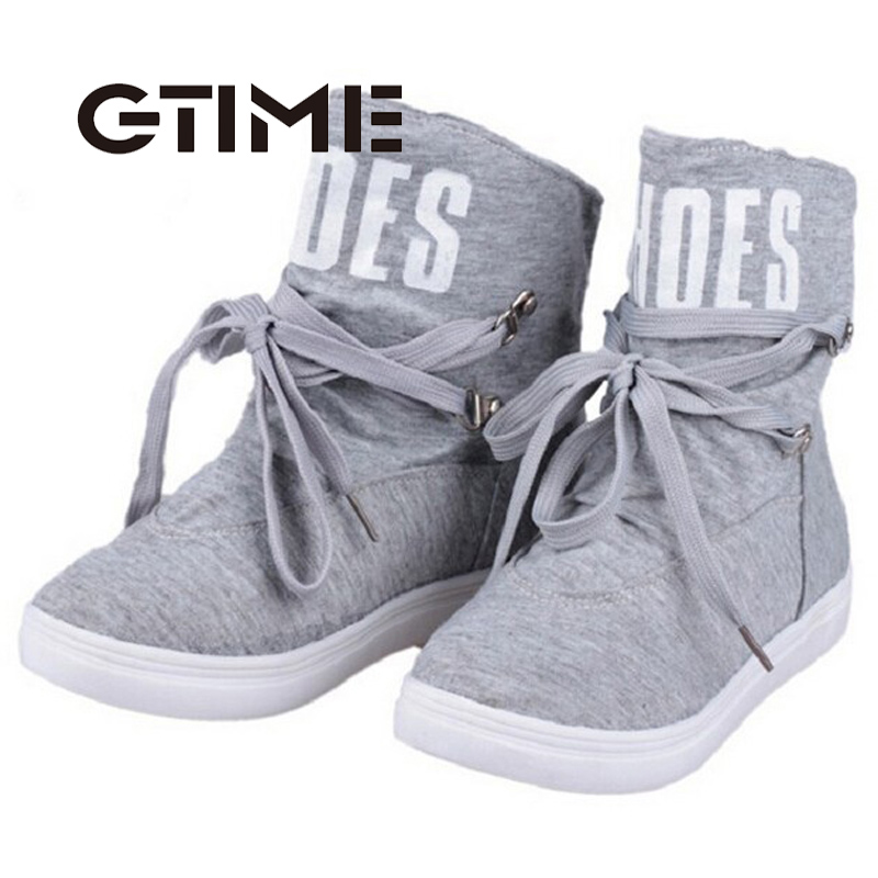 2016 Autumn New Women Boots Casual Solid Gray Black Ankle Boots Letters Printing Canvas Shoes Woman Size 36~44 #GU121(China (Mainland))