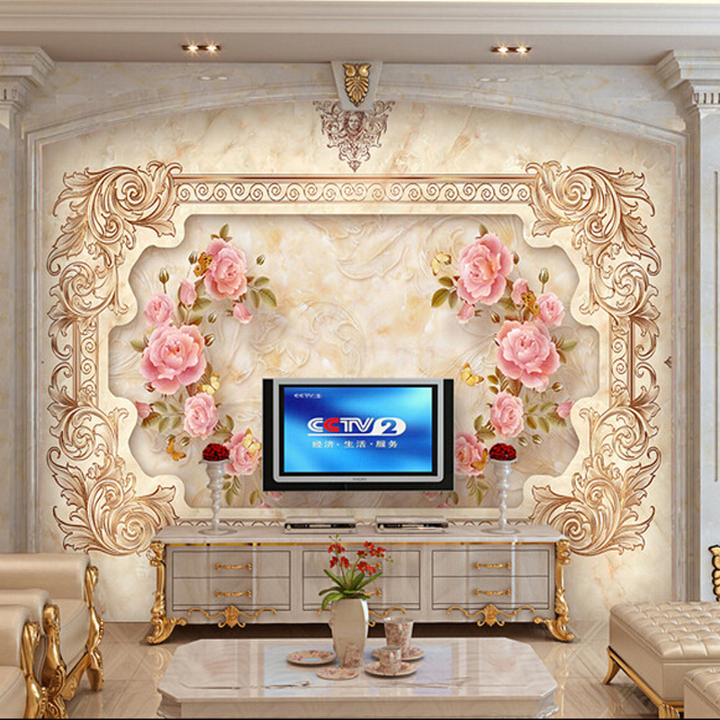 Chinese style living room large mural wallpaper 3d wall for Chinese wall mural