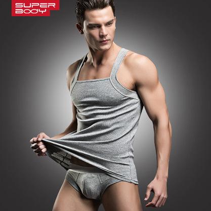 2016 man brand cotton undershirt gym fitness bodybuilding top bodyshaper elastic sport vest tank singlet H U collar with panties(China (Mainland))