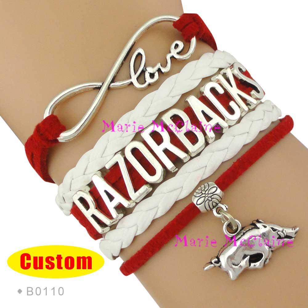 (10 Pieces/Lot) Infinity Love Arkansas Razorbacks Sports Team Bracelet NCAA Team Cardinal White - Custom Sports Cheer Bracelets<br><br>Aliexpress