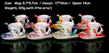 Festival Gift painting creative cup Bone China 3D Color Emamel Porcelain animal peacock mug saucer spoon