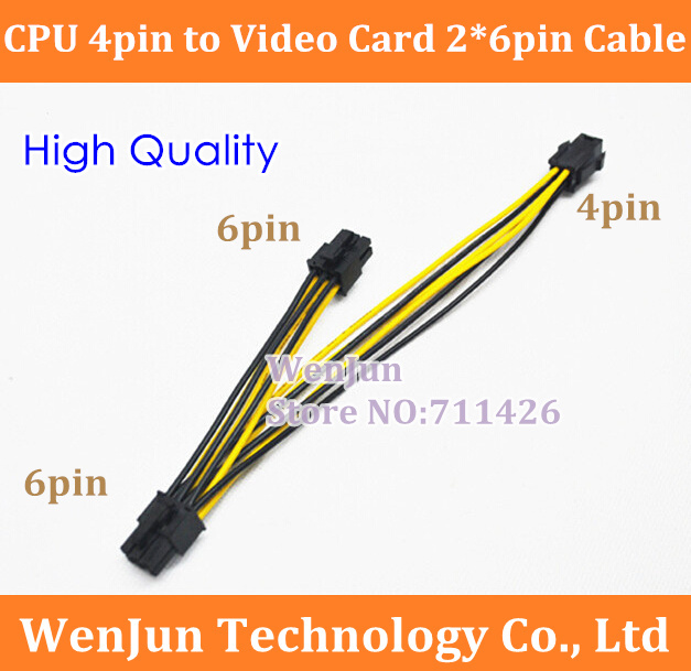 500PCS DHL Free Shipping for NEW CPU 4Pin to Video Card Dual 6 Pin Power Supply Extension Cable 4-pin to 2*6-pin cable(China (Mainland))