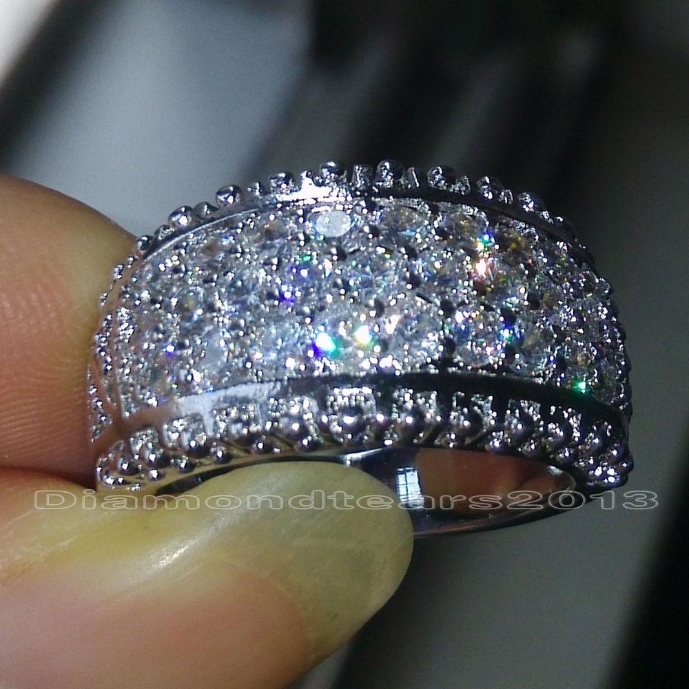 Size 6/7/8/9/10 Luxury Hot sale jewelry Full white topaz 10kt white gold filled women Simulated Diamond Wedding Bridal Ring(China (Mainland))