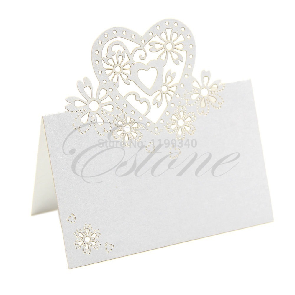 A25 2015 hot-selling 50pcs/pack Lots Of Cut Love Heart Laser Wedding Party Table Name Place Cards Favor Decor free shipping(China (Mainland))
