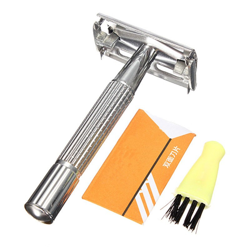 Portable Traditional Style Men Alloy Safety Manually Double Edge Blade Shave Hair Razors with Mirror Shaving Set(China (Mainland))