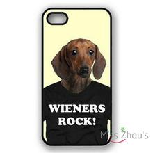 For iphone 4/4s 5/5s 5c SE 6/6s 7 plus ipod touch 4/5/6 back skins mobile cellphone cases cover Daschund On Tshirt Weiners Rock