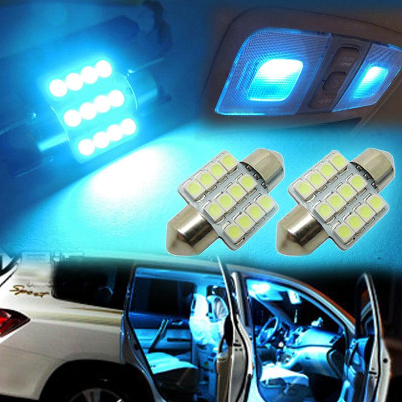 "2pcs Aqua Blue 12SMD 1.25"" 31mm LED Bulbs Car Interior lights #LY911(China (Mainland))"