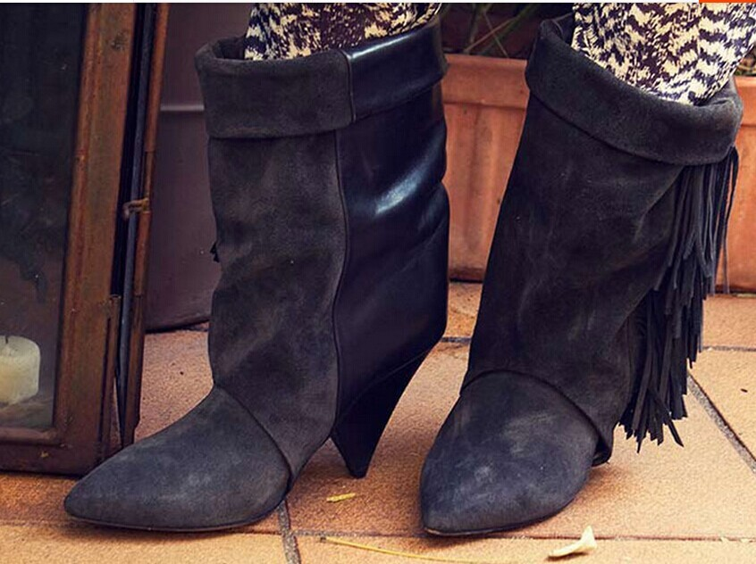 Фотография Quality grey suede fringe ankle boots fashion nubuck genuine leather wedges heel tassel motorcycle boots