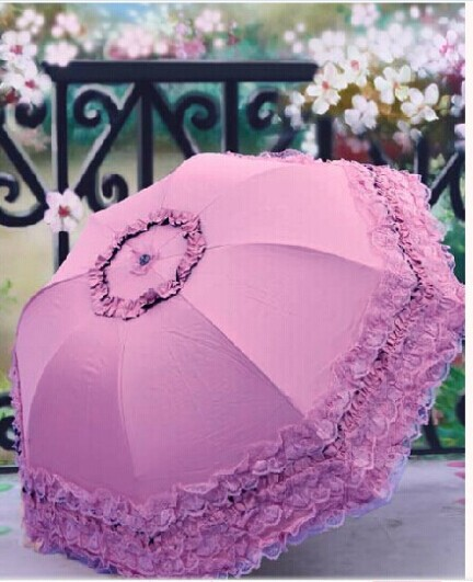 New hot selling Super Princess lace shade umbrella umbrella UV Vinyl umbrella rain women FREE SHIPPING(China (Mainland))