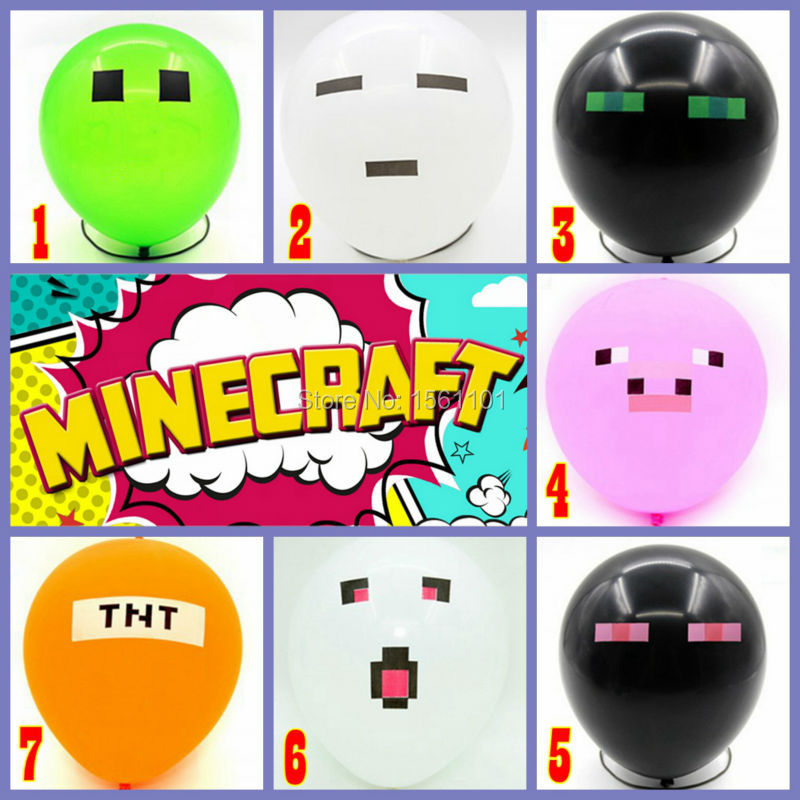 Hot 7 Colors 50 pcs/lot Top Quality Minecraft Balloons Thick Latex Toy Creeper Balloon Christmas Birthday Party Decoration(China (Mainland))