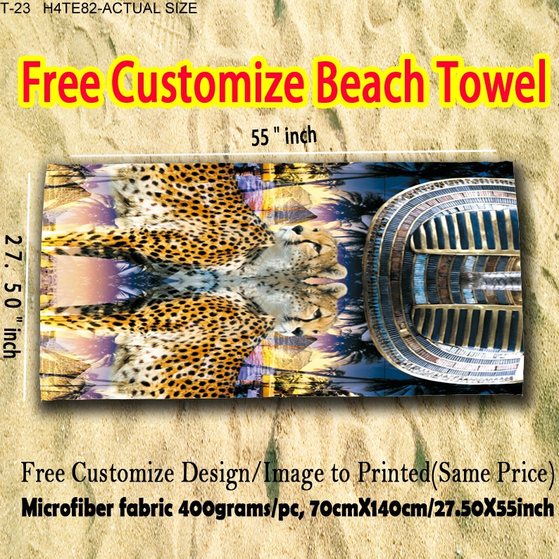 27.5x55 inch Full Print Beach Towel With Two Tigers(China (Mainland))