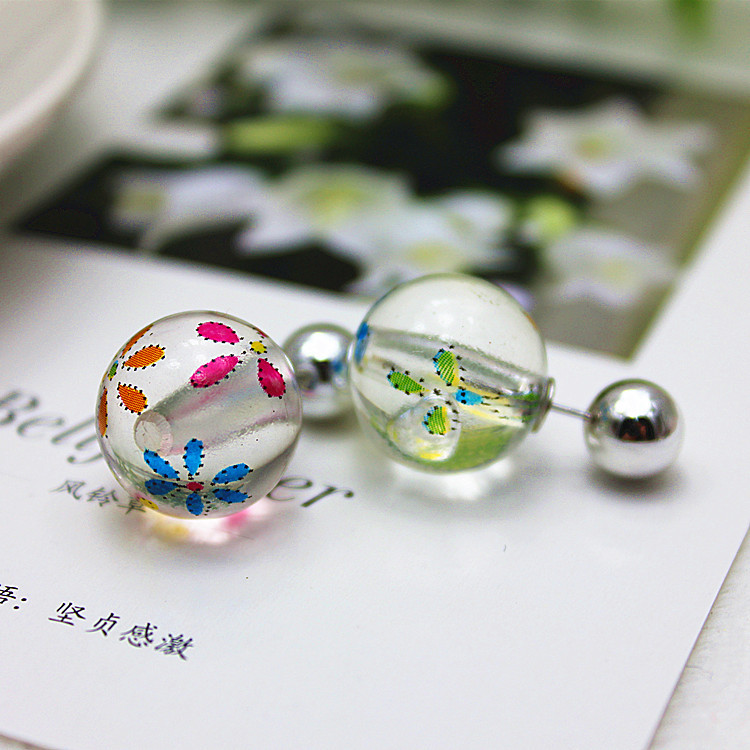 2015 new design fashion brand Summer style jewelry double pearl Daisy Retro Printing Butterfly stud earrings for women earings(China (Mainland))