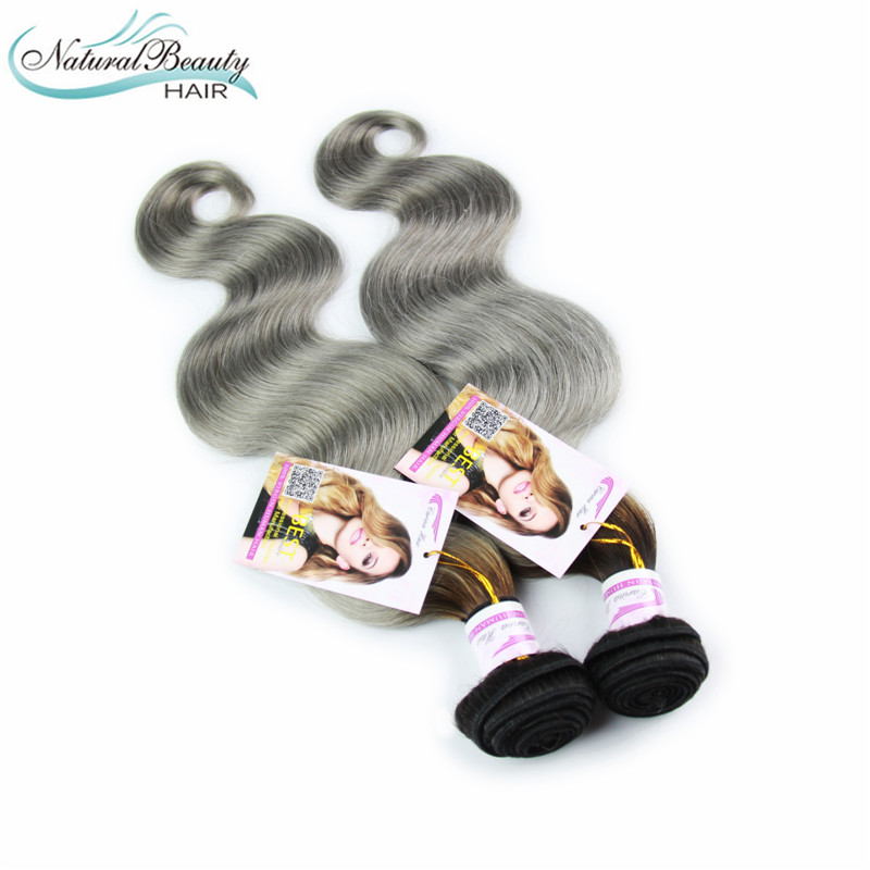 2Pc/Lot Best Quality 7A Ombre Hair Extensions Brazilian Virgin Hair Body Wave Two Tone Color #1b/Grey Ombre Human Hair Weaves<br><br>Aliexpress