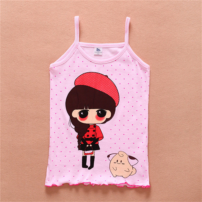 Girls new cotton camisole small tape cartoon images of children   C-WZD014<br><br>Aliexpress