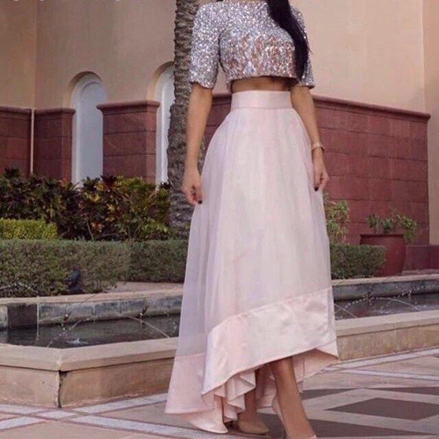 Custom made Light Pink Two pieces Evening dresses 2017 Half sleeve Formal party dress - SOPHOENIYA Wedding Dress Factory store