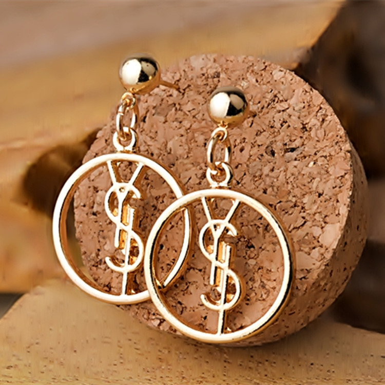 New Fashion Brand Ladies Jewelry Famous Letter Logo Stud Earring Circle Gold Crystal Round long Earrings Women Jewelry Accessory(China (Mainland))