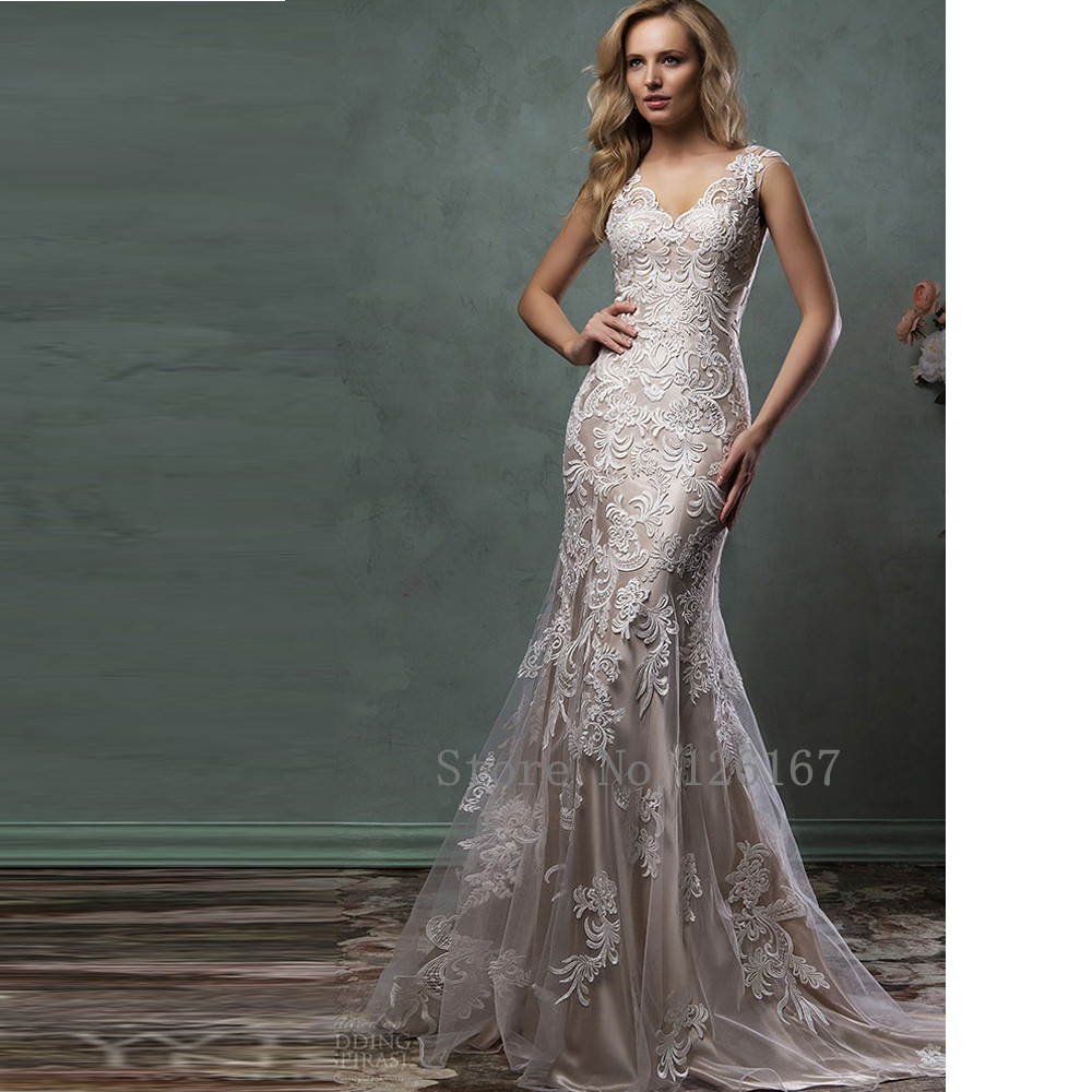 Buy gorgeous wedding dress v neck for Wedding dresses for tall skinny brides