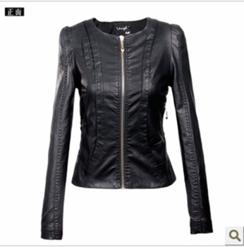 Free Shipping ! 2013 Brand Casual Women's Round Neck Short Paragraph Motorcycle Leather Jacket