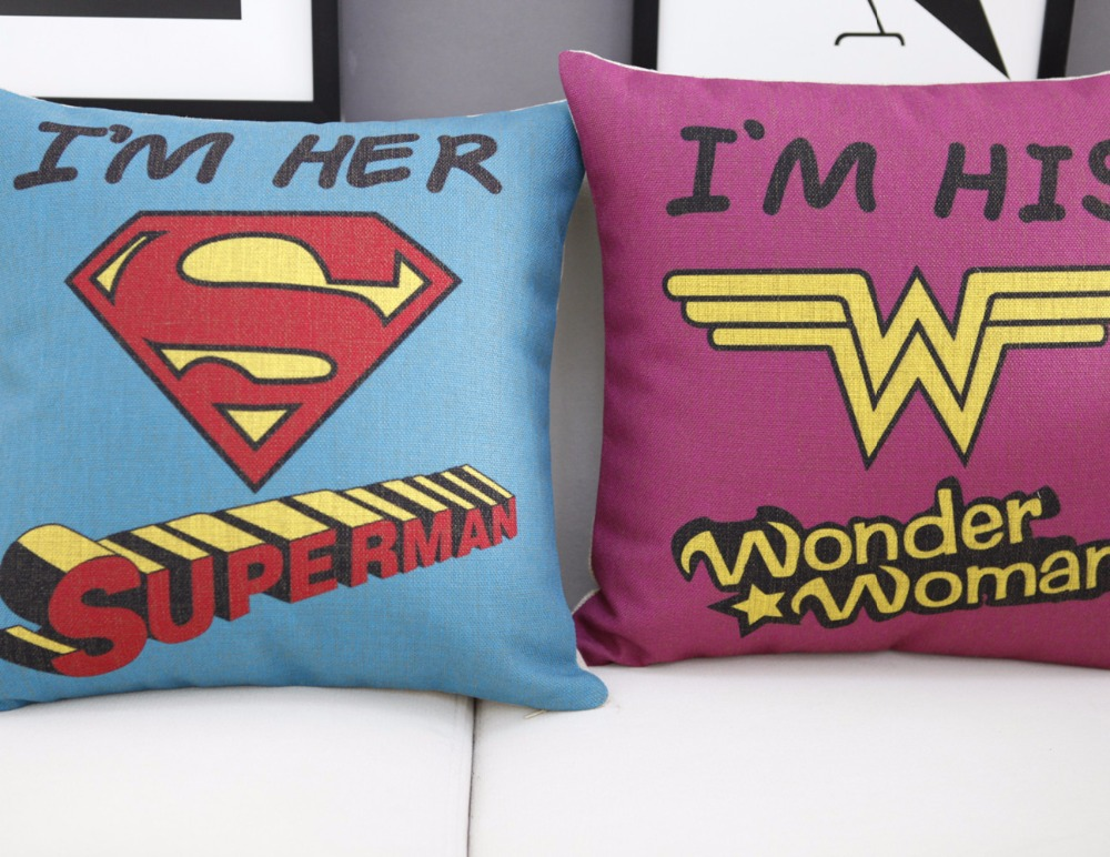 European Wonder Woman Superman pillow cartoon Lovers cushion Linen pillowcase home sofa cushion decorative Pillows