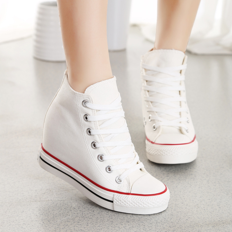 New Women Shoes Casual Canvas Shoes Fashion Breathable Women Lace-up Canvas Shoes Height Increasing Wedge Shoes Zapatos Mujer 8(China (Mainland))