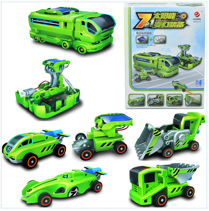 New Arrival!! Bulldozer Construction Truck Racing Car 7-in-1 Puzzle Diy With USB Rechargeable Solar Robot Kit For Children Toys(China (Mainland))