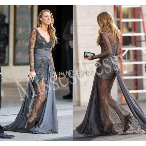 Blake lively serena grey beaded lace prom dress gossip for Serena wedding dress gossip girl price