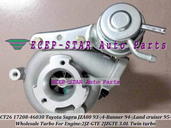 only one Twin Turbo CT20 17208-46030 Turbocharger For TOYOTA Supra JZA80 1993- 4-RUNNER 94- Land cruiser 95- 2JZ-GTE 2JZGTE 3.0L(China (Mainland))