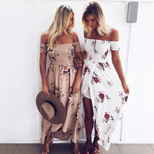 Buy Boho style long dress women shoulder beach summer dresses Floral print Vintage chiffon white maxi dress vestidos de festa for $11.96 in AliExpress store