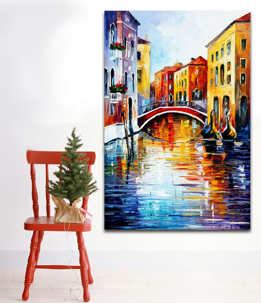 Italy European Cities Architecture Palette Knife Painting Modern Art Picture Printed On Canvas For Home Office Wall Decor(China (Mainland))