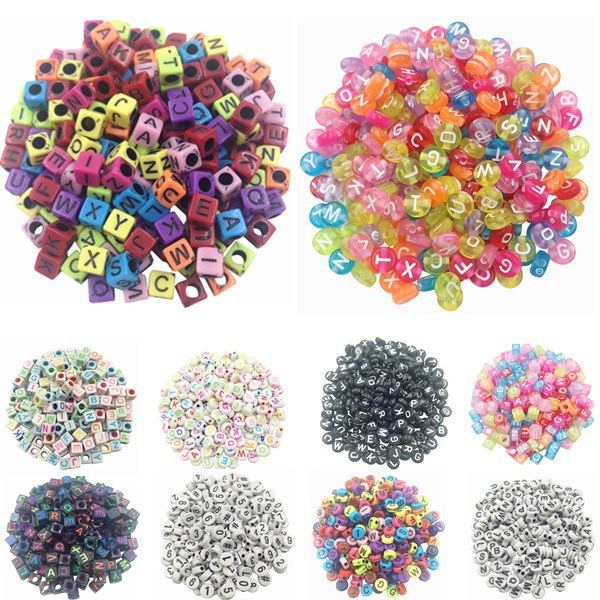 100 piece/Lot Handmade/DIY Square/Round Alphabet Digital/Letter Acrylic Cube for Jewelry Making Loom Band Bracelets(China (Mainland))