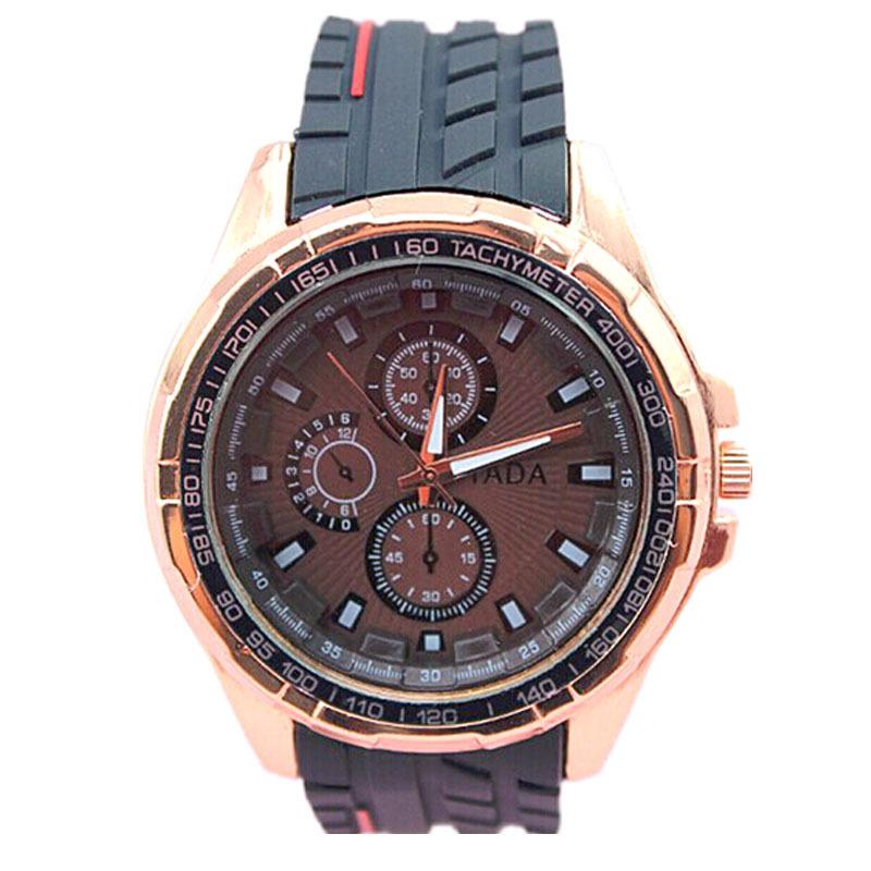 high quality TADA brand Classical black hard silicone band precise quartz movement men sports wrist watch(China (Mainland))