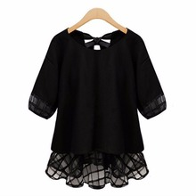 Sexy Lace Bow 5XL Women's Blouses shirts 2016 Female Summer Tops chiffon plus size clothing body camisa feminine blusas feminino(China (Mainland))